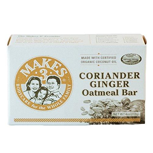 Makes 3 Organics Oatmeal Organic Bar Soap, Coriander Ginger, 4 Ounce