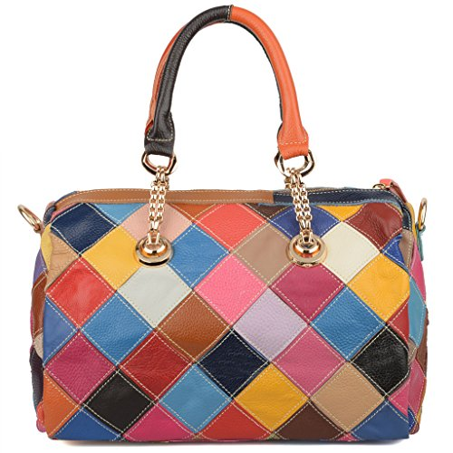 Lambskin Leather Top Handle Bag Crystal Yaluxe Flower Multicolor Crossbody Genuine Women's q1xnnOTwXR