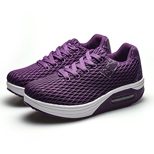 Mesh Frauen 35 Violett Damen Sportschuhe Sneaker Leicht Größe Atmungsaktiv Plateau Turnschuhe 42 Wedges Outdoor wqtqP1UZc