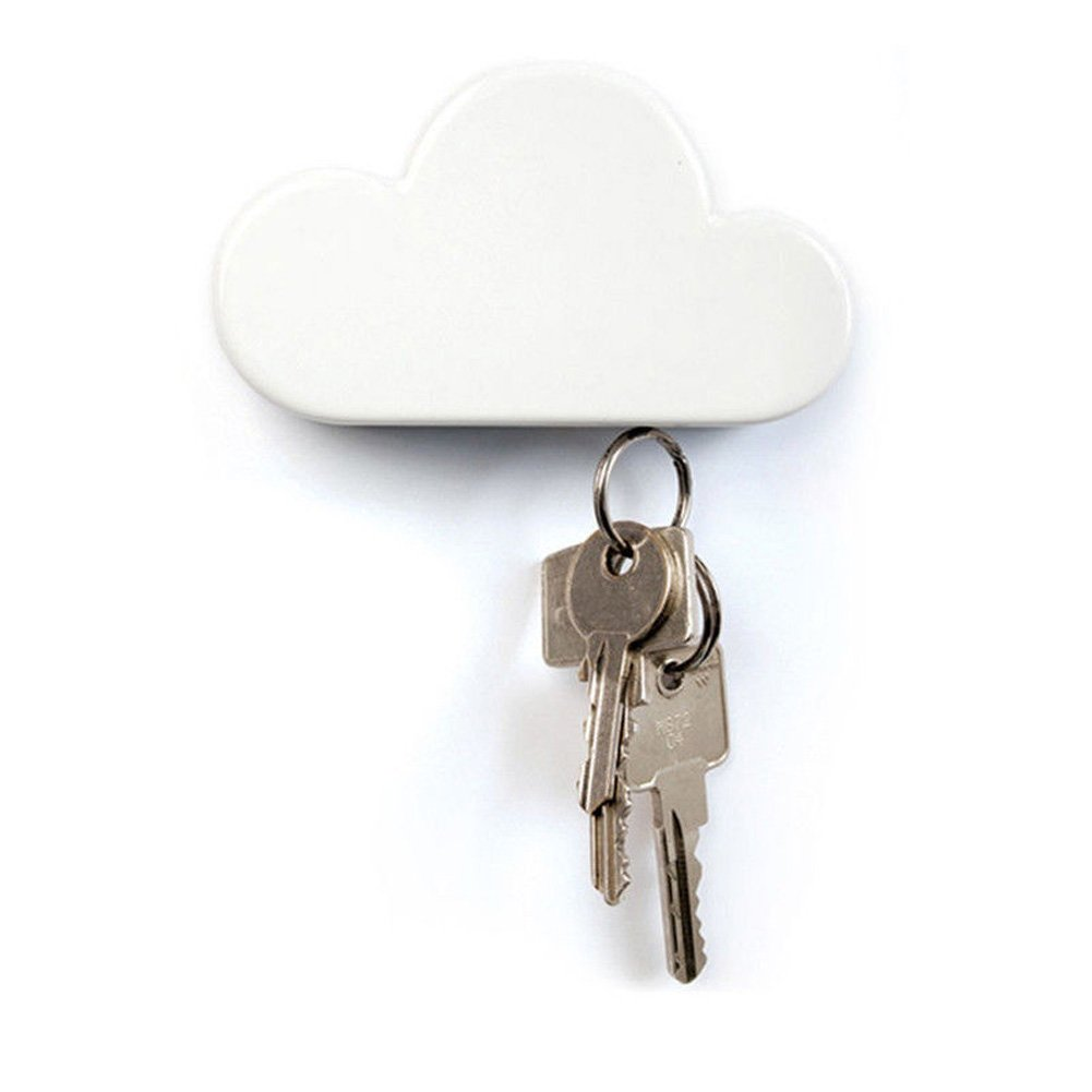 1pc Cute Cloud Shape Magnetic Key Hook Wall Hanger Holder Keychain Home Decoration (White)