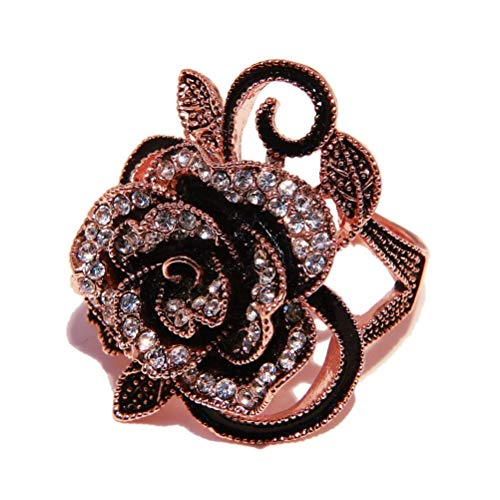 (Rose Gold Tone Womens Ladies Gothic Vintage Stainless Steel Big Rose Flower Band Floral Ring (8) )