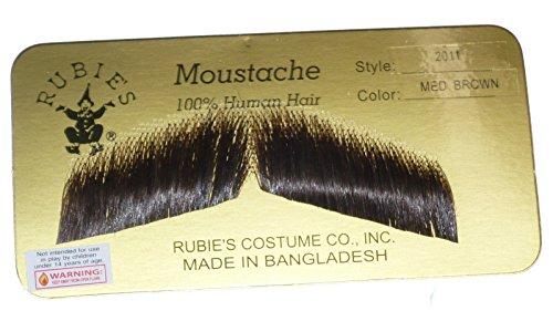 [2011 (Medium Brown) Gent Costume Mustache] (Brown Mustache And Beard Costume)