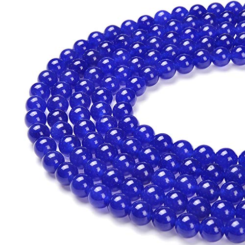 Blue Jade Beads - PLTbeads Gorgeous Blue Dyed Jade Natural Gemstone Loose Beads 8mm Smooth Round Approxi 15.5 inch DIY Bracelet Necklace for Jewelry Making
