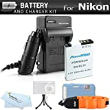 Battery And Charger Kit For Nikon COOLPIX AW120, AW110, AW130, W300 Waterproof Digital Camera Includes Extended Replacement (1200Mah) EN-EL12 Battery + Ac/Dc Travel Charger + FLOAT STRAP + Mini Tripod