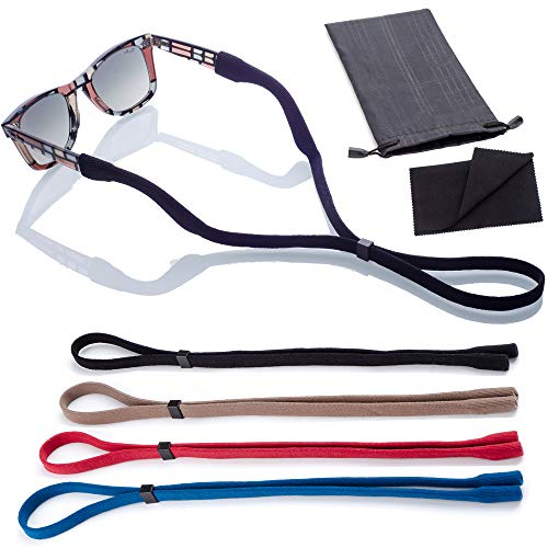 Sunglass Glasses Straps | 4pk with Bonus Case/Cloth | Adjustable and Universal Fit