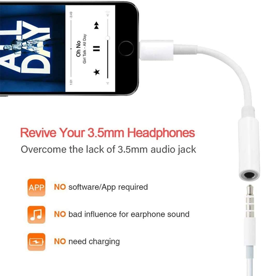Support Calling /& Music Control iPad 2 Pack Lightning to 3.5 mm Headphone Jack Adapter, 3.5 mm Earphone AUX Audio Converter Compatible with iPhone SE//11//11 Pro//XS//XR//X 8 7 Apple MFi Certified