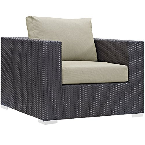 Modway Convene Wicker Rattan Outdoor Patio Armchair in Espresso Beige