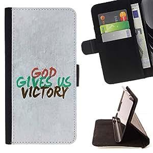 Momo Phone Case / Flip Funda de Cuero Case Cover - BIBLIA Dios nos da la victoria; - Sony Xperia M5