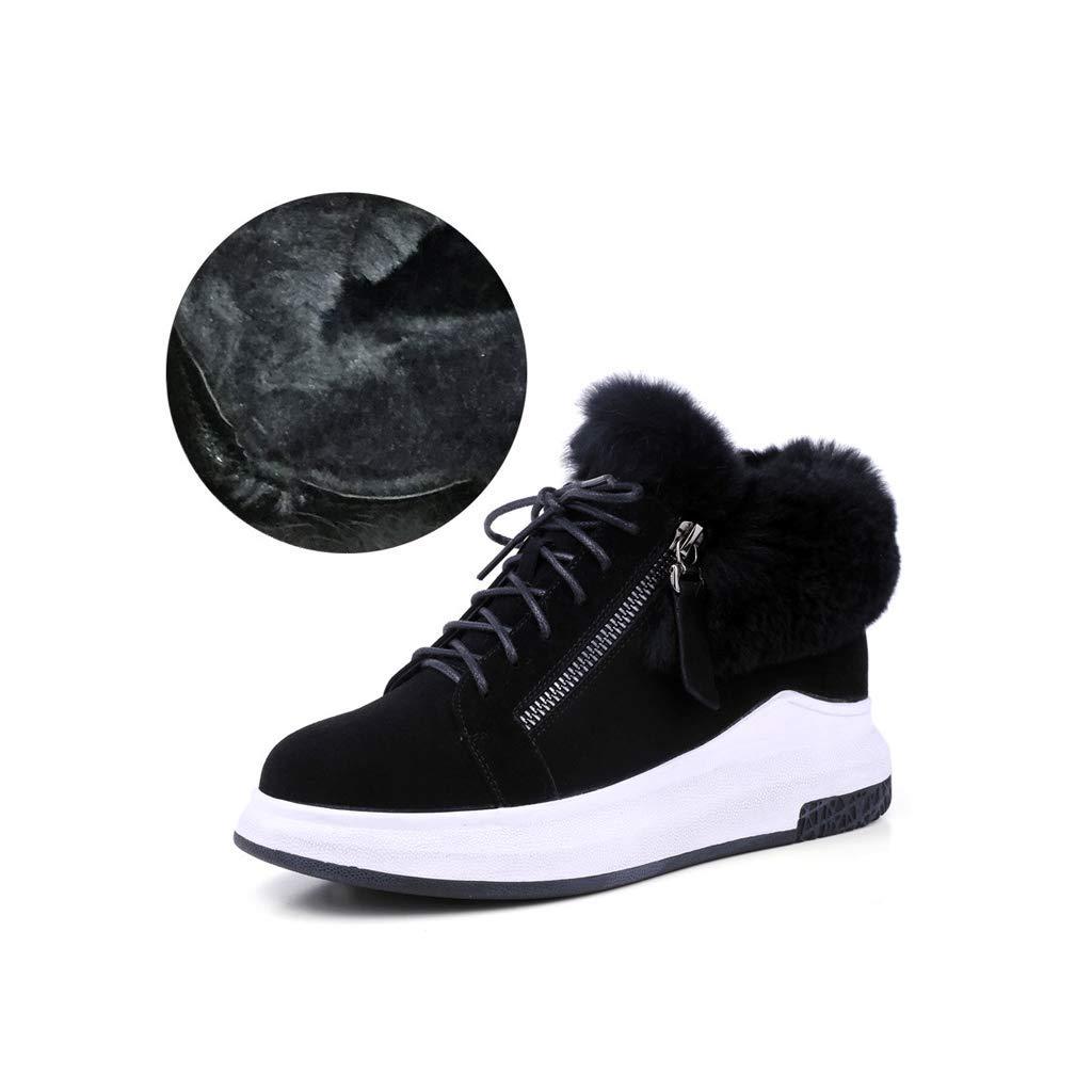 2 ailj Snow Boots, Ladies Outdoor Leather Warm Boots Thick Velvet Short Boots Non-Slip Flat Cotton Boots Two Models (2 colors) (color   2, Size   37 EU 5 US 4 UK 23.5cm JP)