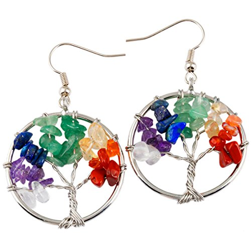 SUNYIK Mixed Stones Tree of Life Dangle Earrings Silver Color
