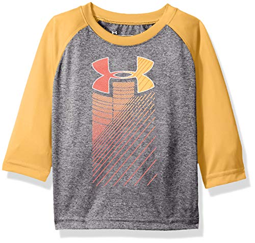 (Under Armour Boys' Baby Long Sleeve Raglan Graphic Tee Shirt, Magma Orange Rising 12 Months)