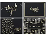 100 Thank You Cards by Spark Ink - Blank Thank You Notes with Envelopes - Bulk Pack of Stunning Black and Gold Foil Designs - Ideal for Business, Wedding, Graduation - 4x6 Photo Size (black)