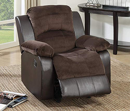 Modern Chocolate Padded Suede and Leather Recliner Chair