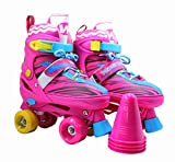 WiiSHAM Fun Roll Adjustable Canvas Roller Skates With Four Piles… (Pink and Yellow, small)