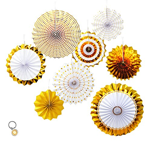 - Mandala Crafts Hanging Circle Paper Fan Set for Party, Event, Birthday, Wedding, Tree, Wall, Backdrop Decoration (8, Gold Glitter)