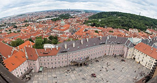 View of Prague Castle Square Wall Decal Mural - 30 Inches W x 16 Inches H - Peel and Stick Removable Graphic
