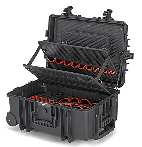 Knipex 00 21 37 LE Tool Case Robust45 with Integrated Rollers and Telescopic Handle Empty, Black
