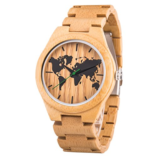 Bamboo Mens Watch,World Map Watch,45mm Dial,Light Weight,Engraved Watch with Watch Band Remover Tool