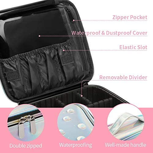 Cosmetic Organizer Case, BuyAgain Holographic Makeup Case Water-resistant Cosmetic Bag With Adjustable Dividers for Travel, Silver