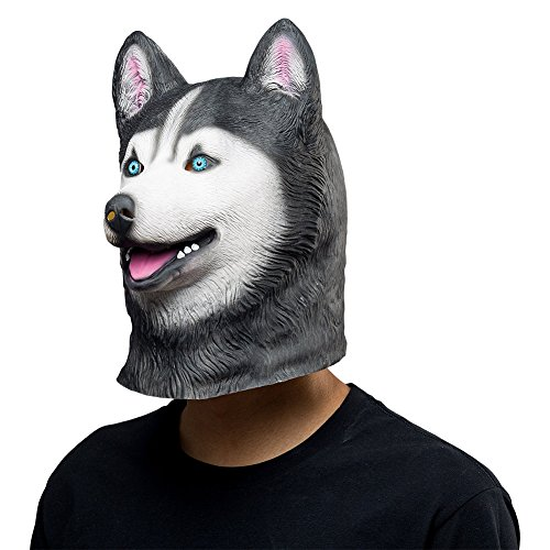 COSMOVIE Siberian Husky Dog Latex Mask Animal Head Mask Halloween Costume Rubber Masks