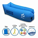 Airest Inflatable Lounger Air Sofa, Pools And Sea Gift Usable in Every Season, Hammock Bed For Camps-Carrying Bag Free   Side Pocket and Safe Fixing Stake   Rock Solid Fabric   Blue Lazy Lounger