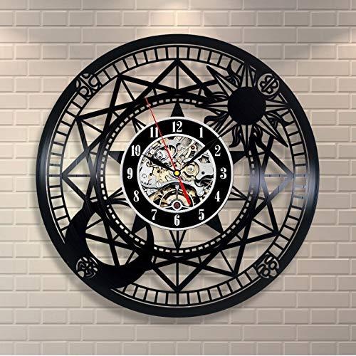 (Vinly Record Clock Card Captor Sakura Variety Sakura Magic Array Theme Best 3D Art Mirror Wall Clock Wall Art Home Decor Stickers)
