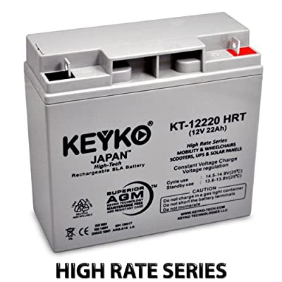 12V 22Ah Deep Cycle AGM / SLA Battery for Wheelchairs Scooters Mobility UPS & Solar - Genuine KEYKO - Nut & Bolt Terminal