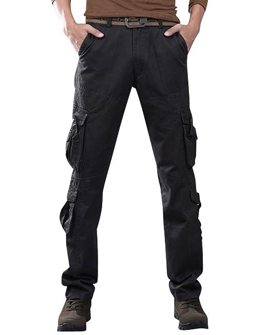 73c5c419708 Hombre Pantalones Cargo Multi Bolsillos Pantalone Recto Pantalón Militares  Café 35  Amazon.es  Ropa y accesorios