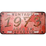 Metal License Plate Vintage Year 1973, Born/Made - Neonblond