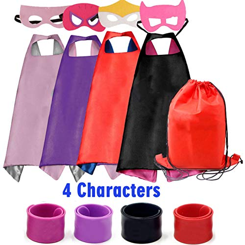 Dress up Costume Cape and Mask Set with Drawstring Backpack and Matching Shaped Rubber Wristbands for Kids, Birthday Party Children (4pcs for Girls) ()