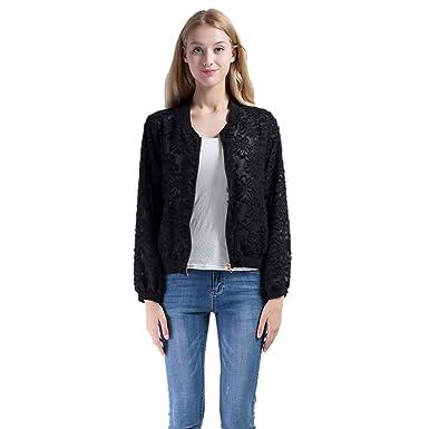 4ad73c30858 Vero Viva Women Lace Embroidery Zipper Fly Shirt Top Long Sleeve Semi Sheer  Coat(S