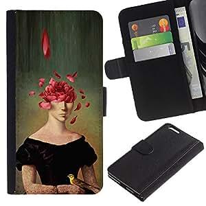 ZCell / Apple Iphone 6 PLUS 5.5 / Portrait Painting Art Face Rose Petals Symbolic / Caso Shell Armor Funda Case Cover Wallet / Retrato pintura ar