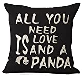 Nordic Style Wildlife Animal Lovers Sweet Warm Saying All You Need Is Love And Panda Cotton Linen Decorative Throw Pillow Case Cushion Cover Square 18 'X18 '