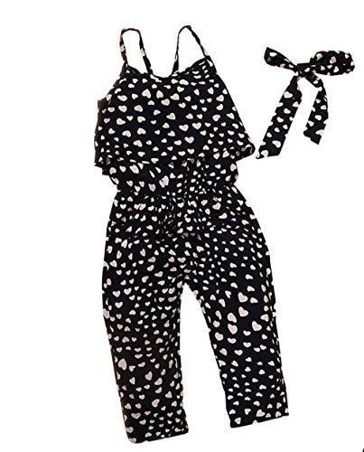 2-7T Baby Toddler Little Girls One-Pieces Floral Corset Romper Jumpsuit Harem Pants (Black 1, 2T) ()