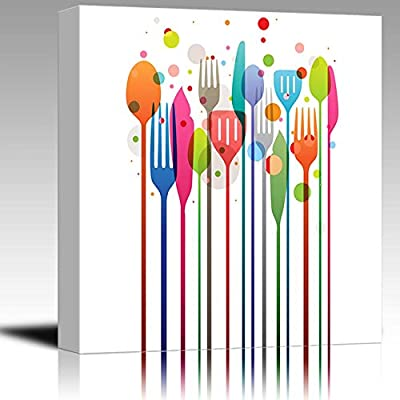 Beautiful Vector Illustration with Multicolored Utensils for All Kind of Food Related Designs Wood Framed - Canvas Art Wall Art - 24