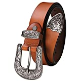 Ladies Western Leather Belts Cowhide Leather Jeans Belt Vintage Dresses Skinny Belt Adjustable Metal Buckle 28''-34'' Gift Box Brown