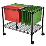 Metal Rolling Mobile File Cart,Single Layer File Frame, 23.6 x 12.6 x 18 Single Tier,Black,600x320xh460mm,for Classroom, Office, Living Room, Home Office Etc