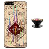 Hali Poter Map Case for iPhone 7 iPhone 8 Protective Case Aurora Color Soft TPU Compatible iPhone 7 8 Cover with Phone Holder Bracket (7/8)