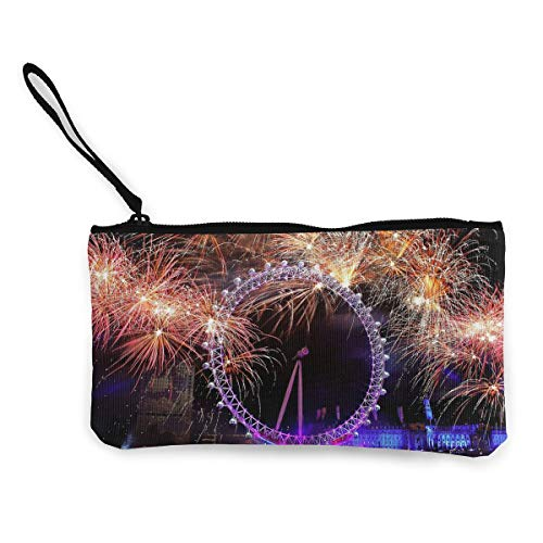 Oomato Canvas Coin Purse Ferris Wheel Firework Cosmetic Makeup Storage Wallet Clutch Purse Pencil -