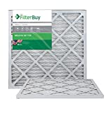 FilterBuy 20x20x1 MERV 8 Pleated AC Furnace Air Filter, (Pack of 2 Filters), 20x20x1 – Silver