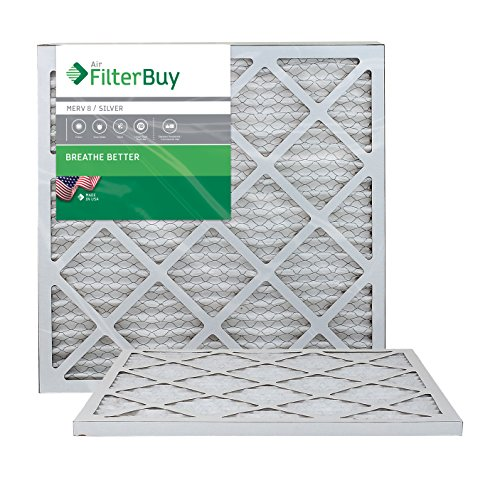 FilterBuy 20x20x1 MERV 8 Pleated AC Furnace Air Filter, (Pack of 2 Filters), 20x20x1 - Silver