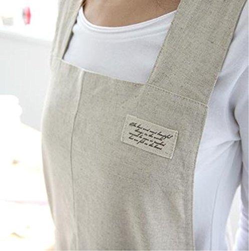 Katoot@ Housewarming Chef Apron Gift for Women Japanese Style X Shape Denim Smock Cotton Apron H:95cm - Beige ()
