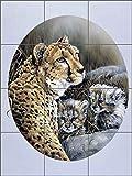 Artwork On Tile Ceramic Tile Mural Backsplash Cheetah Twins by Verdayle Forget - Kitchen Shower Wall (18'' x 24'' - 6'' tiles)