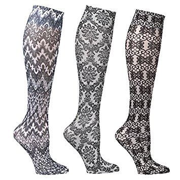 Women's Mild Compression Wide Calf Knee High Support Socks - Blacks & Whites - 3 Pair