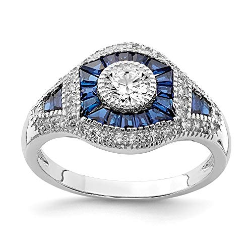 925 Sterling Silver Synthetic Blue Spinel Cubic Zirconia Cz Band Ring Size 8.00 Stone Fine Jewelry Gifts For Women For Her