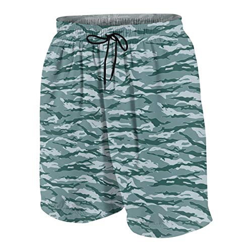 Summer Beach Shorts Marines Tiger Stripe Camouflage Gifts Blue Board Shorts Quick Dry Swim Trunks ()
