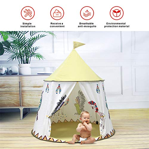 Gupamiga Kids Tent Play Tent Teepee Tent for Kids Pop Up Foldable Playhouse Toy for Toddler with a Carrying Bag for Indoor & Outdoor