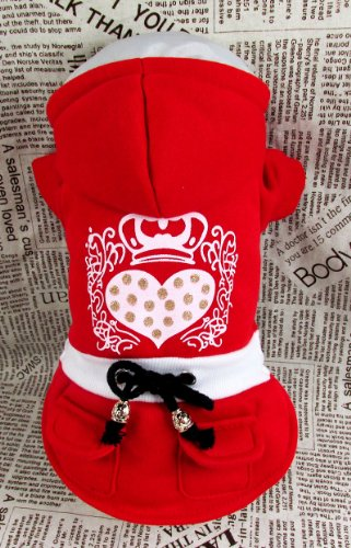 Genda 2Archer Red Lovely Queen Heart Dog Hoodie Adorable Casual Coat Outfit for Dog