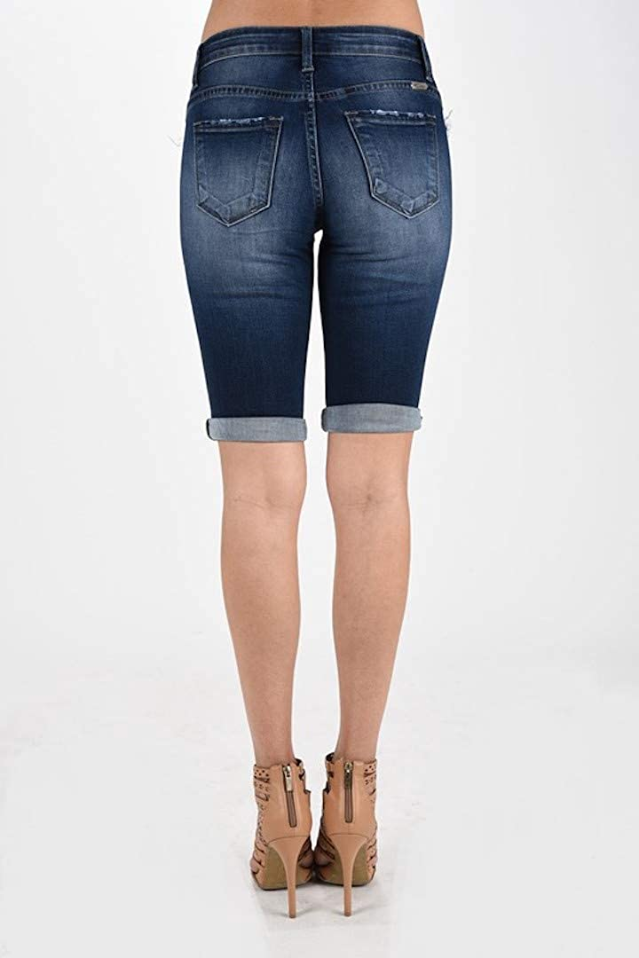 102da326cc7c KanCan Jeans Kevia-Lovis Mid-Rise Bermudas Shorts Dark Wash KC6110D at  Amazon Women's Clothing store: