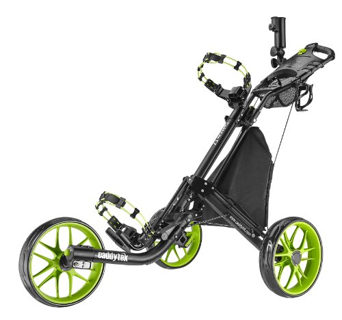 Golf Push Pull Carts - CaddyTek EZ-Fold 3 Wheel Golf Push Cart, Lime